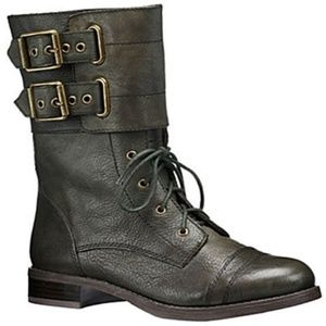 Lucky Brand Glora Combat Boots Green Leather 7